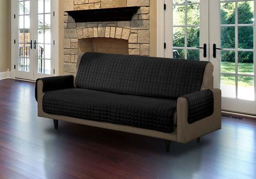 protector sofá negro gris microfibra 3 puestos doble faz