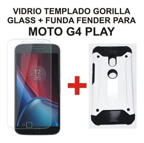 protector vidrio templado gorilla glass + funda rigida fender moto g4 play maxima proteccion