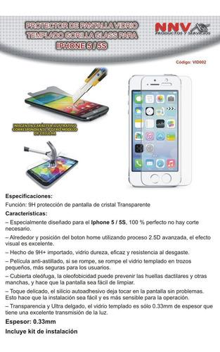 protector vidrio templado gorilla glass iphone 5 / 5s / se