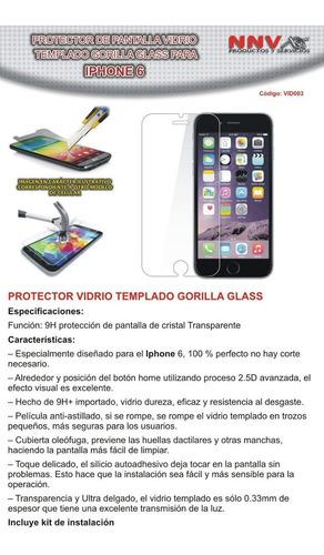 protector vidrio templado gorilla glass iphone 6 - nnv