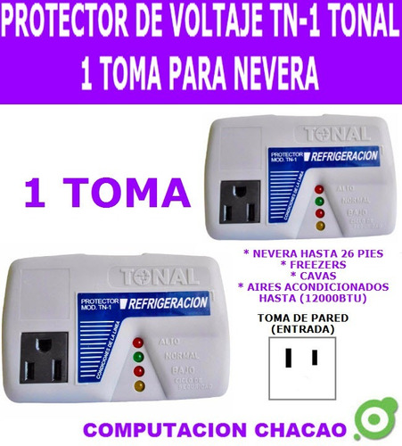protector voltaje 1 toma nevera freezer cava tn-1 tonal ccc