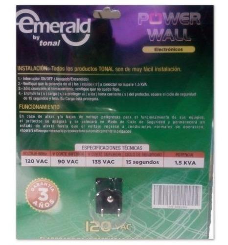 protector voltaje emerald e-pte 110v electronicos 2 tomas