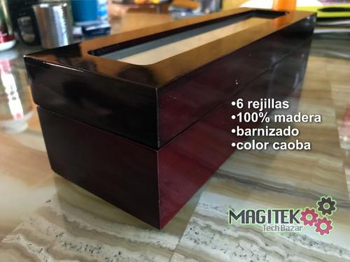 protege tus relojes: caja de madera con 6 rejillas