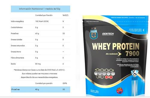 proteina gentech whey protein 7900 afa 500 gramos