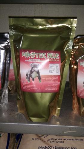 proteína monster blue premium para adulto y cachorro