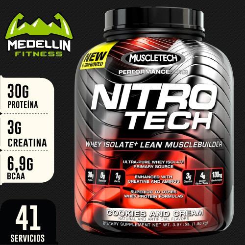 proteína nitro tech 4lb - muscletech con creatina y bcaa