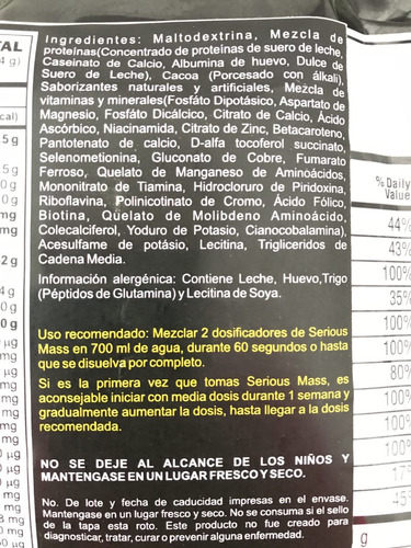 proteina on serious mass 12 libras - 5.44 kg envío gratis