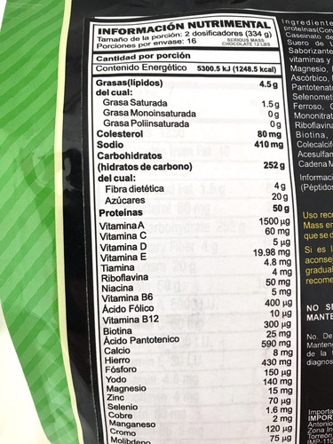 proteina on serious mass 12 libras - 5.44 kg envío gratis