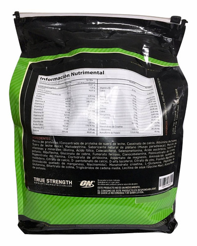 proteina serious mass on 12 lb (16 srvs) sabor platano