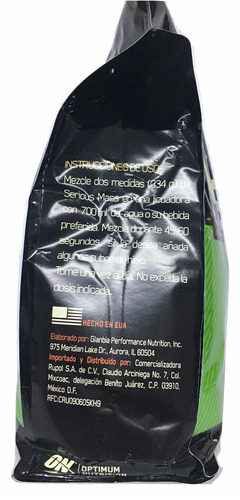 proteina serious mass on 12 lb (16 srvs) sabor vainilla