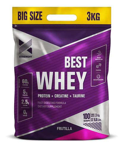 proteina whey xtrenght 3 kg best big size potenciada taurina