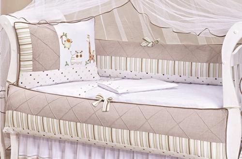 protetor berço safári + kit cama babá + saia do berço
