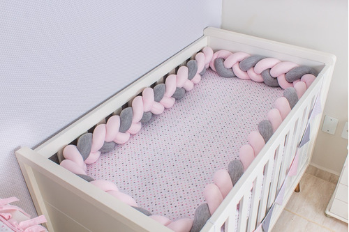 protetor de berço e cama infantil trança 3,80 m
