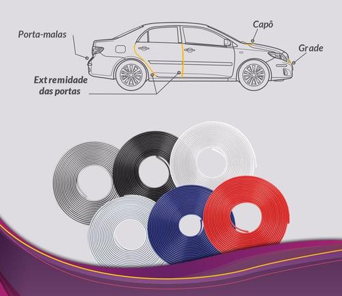 protetor de borda porta para carros 10 mtrs lifan x60 todos