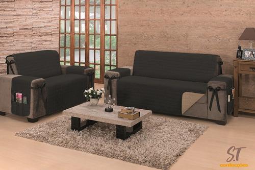 protetor de sofa 2 e 3 lugar king dupla face c/ laço oferta