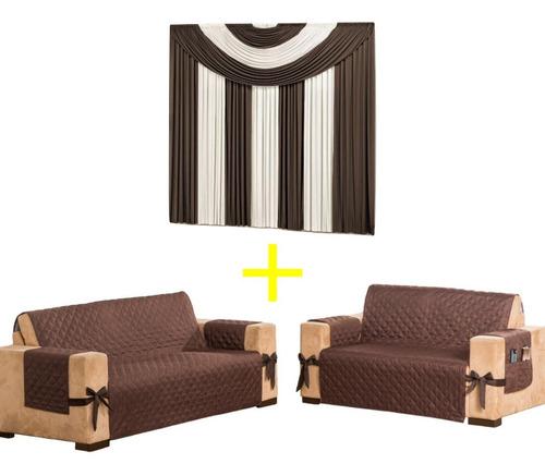 protetor de sofá 2e3 lug c/ laço + cortina 2m malha oferta kit a pronta entrega