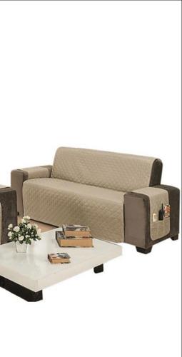 protetor de sofá 3 lugar king impermeável dupla face oferta