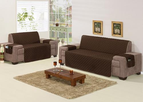 protetor de sofá tabaco matelado para 2 e 3 lugares