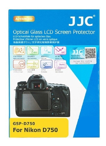 protetor de vidro lcd câmera jjc gsp-d750 - nikon d750 novo