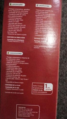 protetor eletrônico pe102 bivolt 6 entradas. tomada 3 pinos