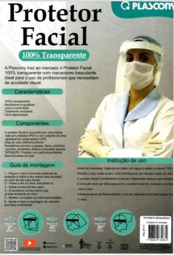 protetor facial 100% transparente pet plascony - 1117