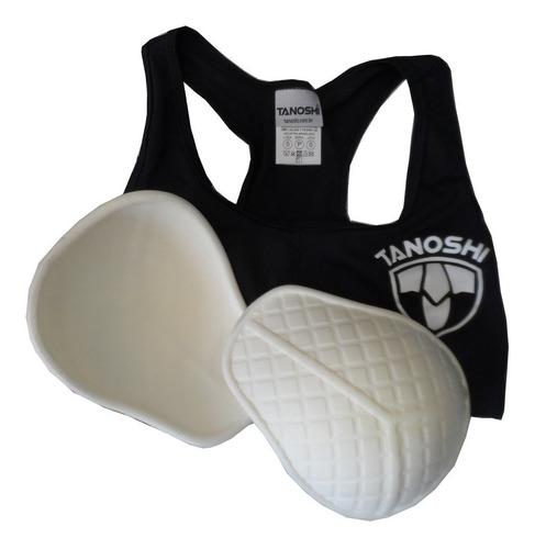 protetor seios tanoshi preto - luta muaythai sanda karate