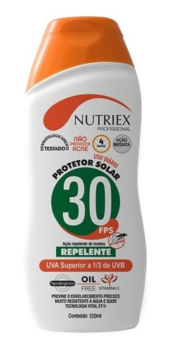 protetor solar nutriex fator 30 120ml 1/3 uva c/ repelente