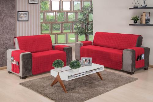 protetores para sofá charme 02 peças (vermelho) face única