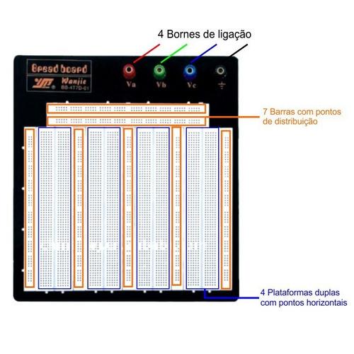 protoboard ultra 3260 furos matriz contato p/ pic arduino ci