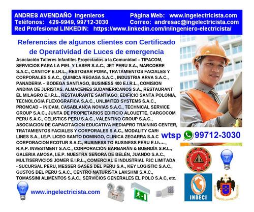 protocolo de luces emergencia detectores de humo certificado