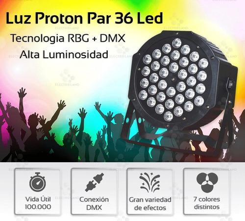proton led par 36 led alta luminosidad rgb audioritmico dmx