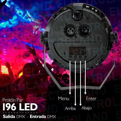 proton tacho audioritmico dmx luz 196 led fiestas rgbw 36w