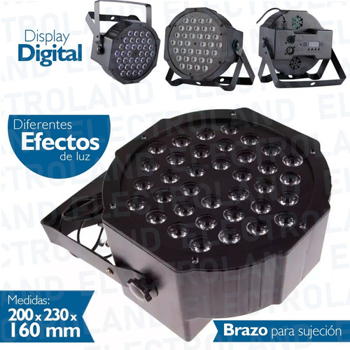 proton tacho luz negra uv 36 led audioritmico dmx