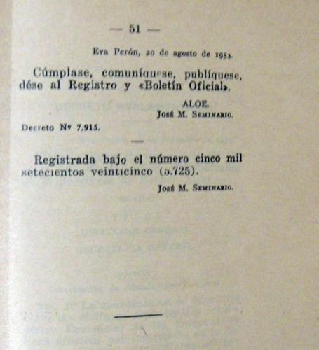prov bs as ley 5.725 registro provincial personas 1953 peron