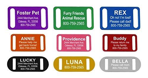 providencia de grabado slide-on pet id tag / tag collar, pe