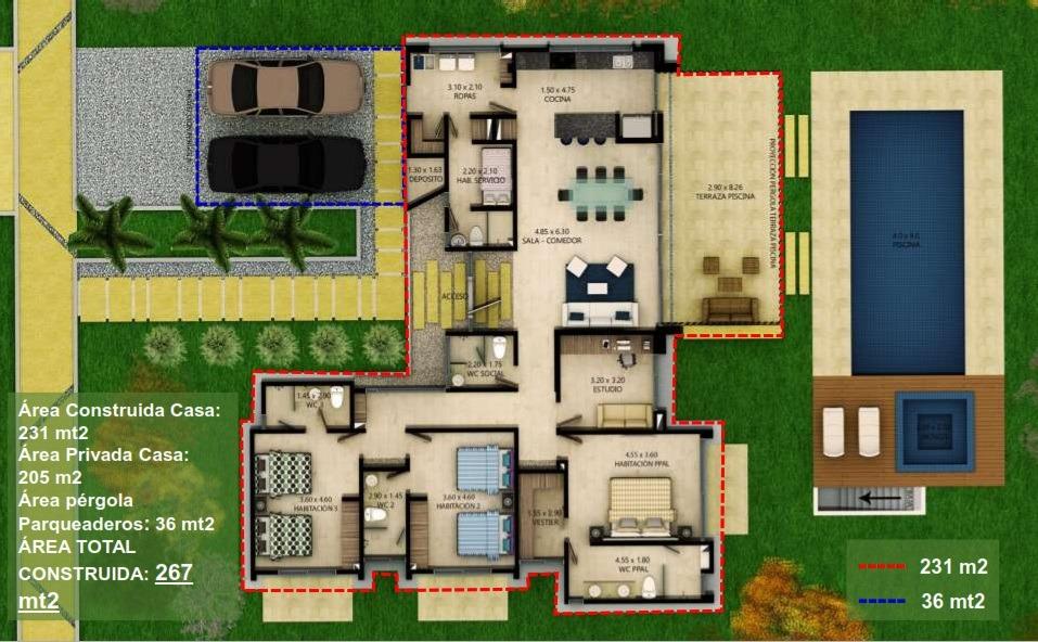 proyecto mocawa casas campestre 267 m2 la tebaida