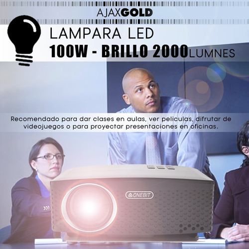 proyector 2000 lumenes portatil hdmi led tv hd  vga usb