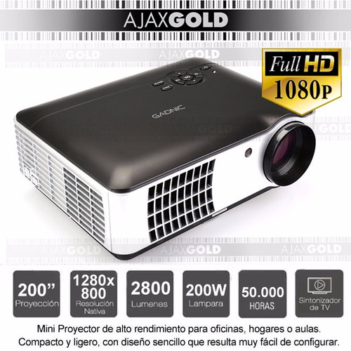 proyector 2800 lumenes 1080p hdmi usb notebook led 200w