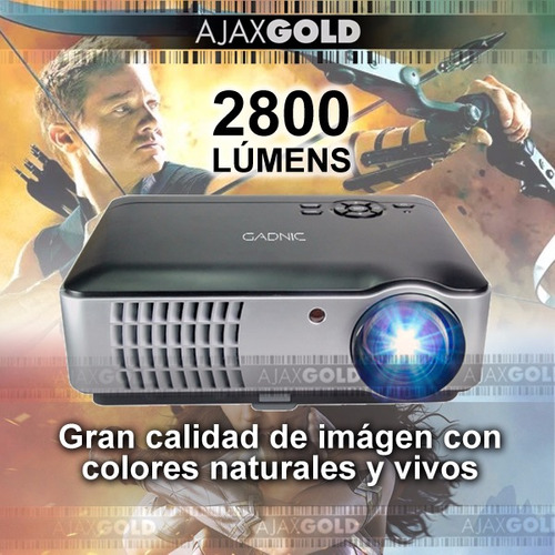 proyector 2800 lumens wifi android 1080p hdmi usb led 200w