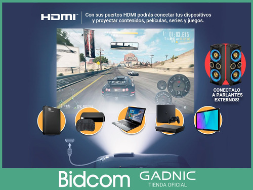 proyector 3500l gadnic clases oficina peliculas 1080p led