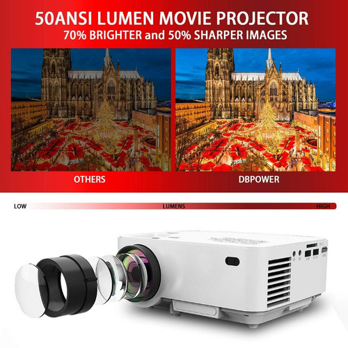 proyector dbpower mini lcd hdmi 1500 lumenes bocina cañon hd