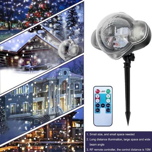 proyector efecto nieve snowfall 2 luz led navideño exterior