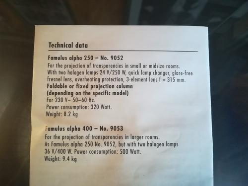 proyector kindermann famulus alpha 250