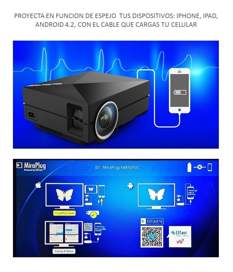 a06093afc0f proyector led portatil miraplug para android iphone maletin. Cargando zoom.
