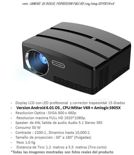 proyector led smart 2000 lumens android 6.0 miniteclado msi