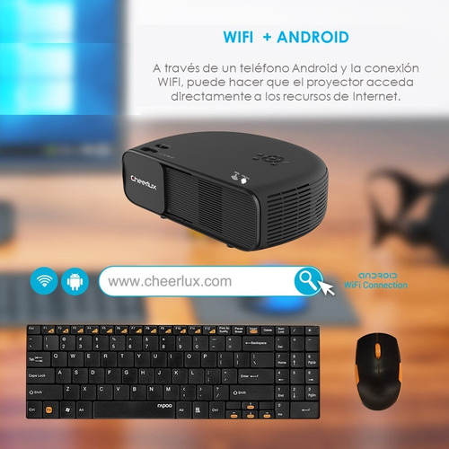 proyector led wifi android cheerlux  4000 lumens profesional
