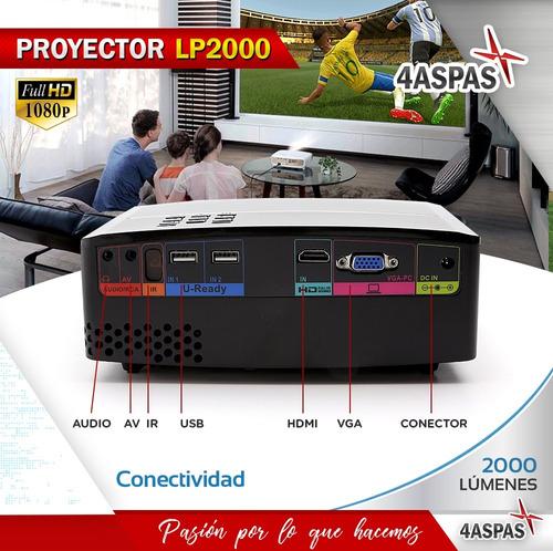 proyector mini 2000 lumens portatil tv led hd hdmi vga usb