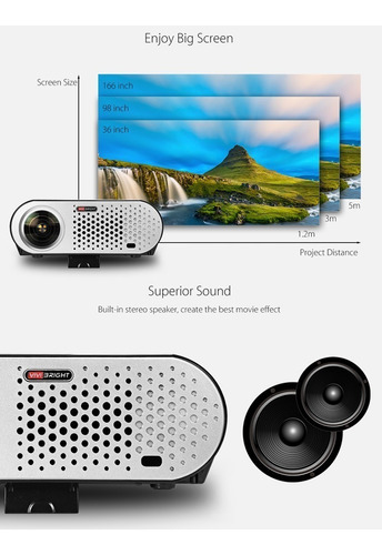 proyector profesional led smart android wifi 3300 lumens multipuertos
