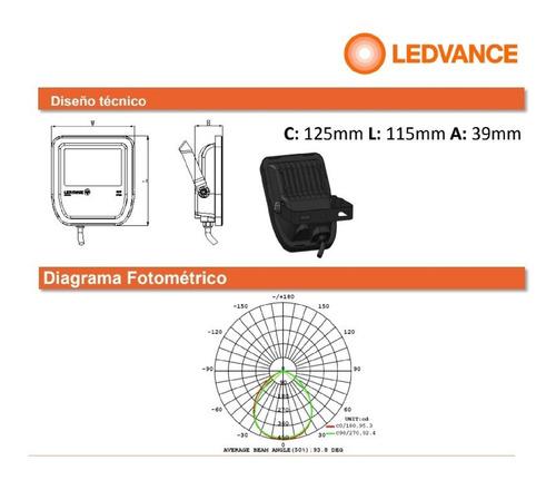 proyector reflector ledvance osram floodlight 50w/830 cálida