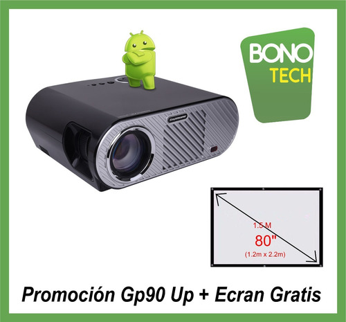 proyector smart android wifi 3200 lumens /180 pulg. gp90up
